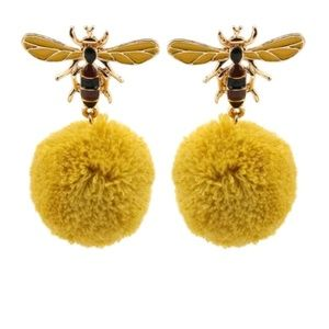 Jewelry - Bee Wasp Pom Pom Drop Statement Earrings